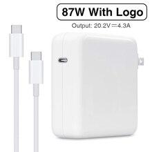 87W USB C mocy typ adaptera C ładowarka pd z 1M USB C kabel do ładowania dla najnowszych Macbook pro 15 cal A1706 A1707 A1708 A1719