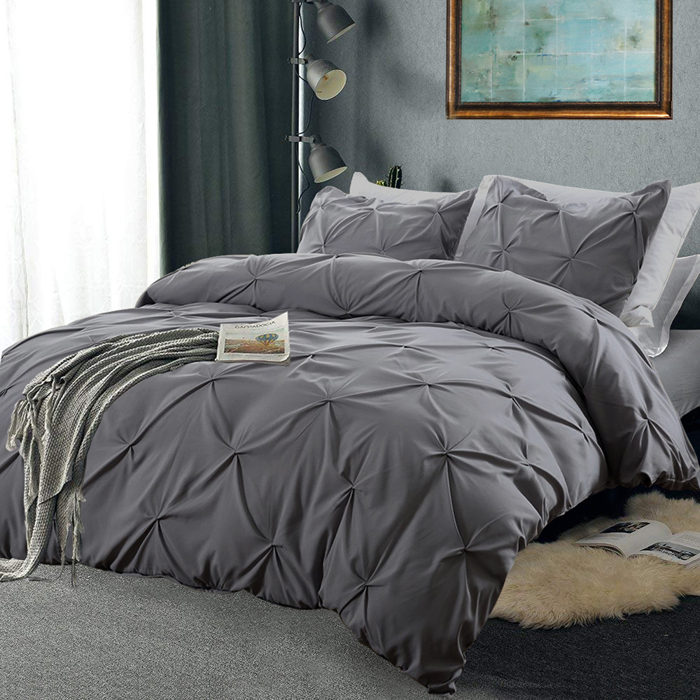 Pinch Pleat Bedding Set Cotton Luxury Super Soft Duvet And Pillowcases Comforter Bedding Sets Queen King Size Bed Cover Set