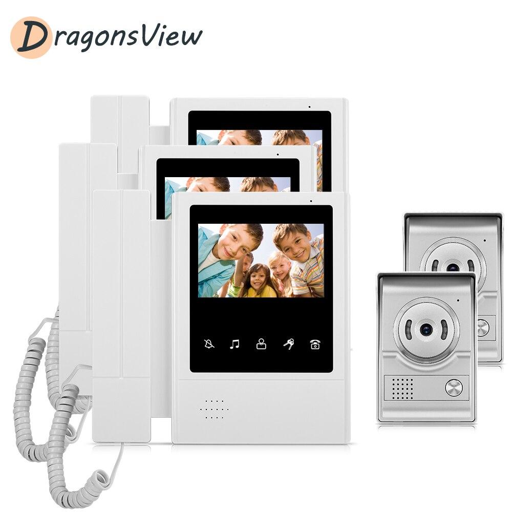 DragonsView Video Door Intercom Entry System Kit 4.3'' Multi Apartment Video Door Phone Intercom System For Home With 2 Doorbell