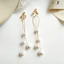 Temperament Long Imitation Pearls Tassel Clips Earrings Without Piercing Hole Simple Elegant Round Pearls Pendant Clip Earrings