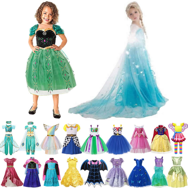 Girl Elsa Anna Princess Dress Toy Story Woody Costumes Kids Vampirina Cinderella Baby Girl Clothes Tiana Belle Jasmine  Unicorn