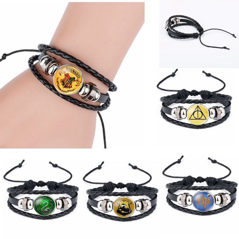 3D Harri Potter Leather Bracelet Printed Glass Gem Charm Magic Academy Badge Snitch Luna Death Triangle Bracelet Bangles Toys
