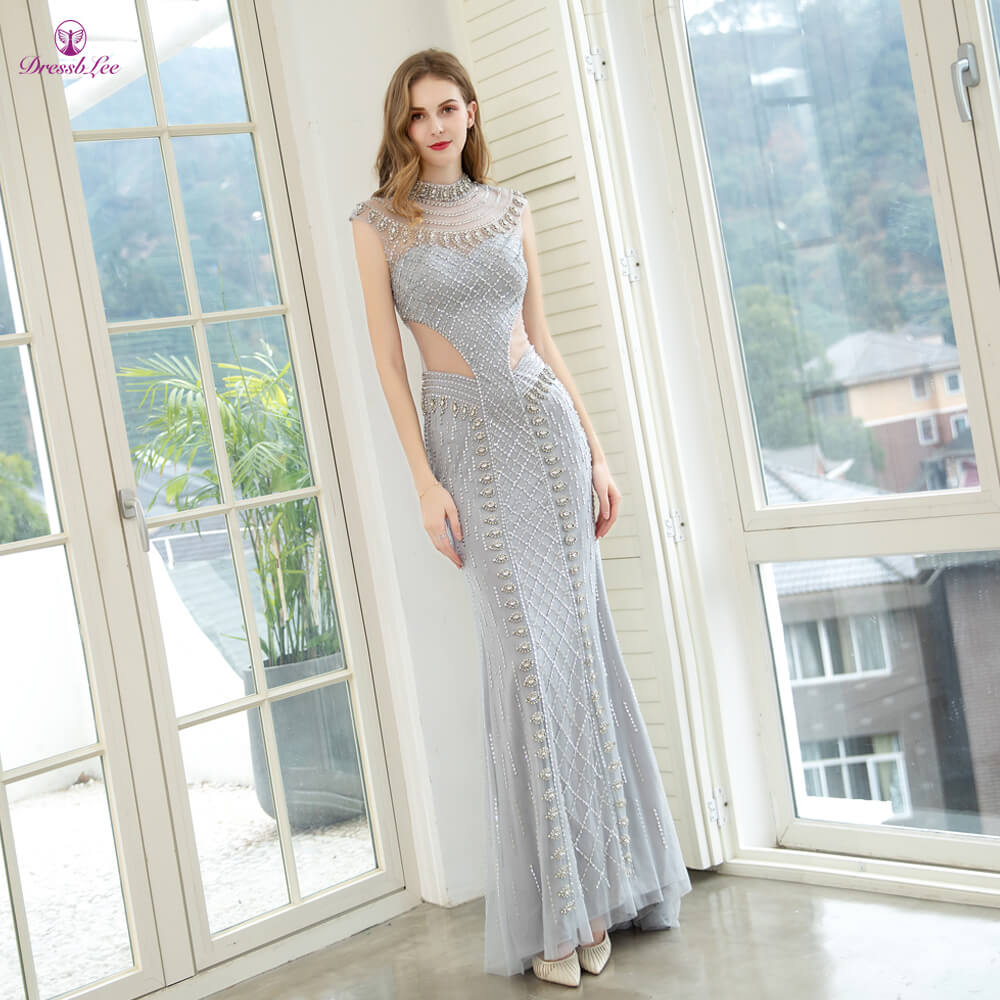 DressbLee High Collar Silver Mermaid Prom Dress Crystal Beaded Long Prom Dresses Transparent Formal Party Gowns robe-de-soiee