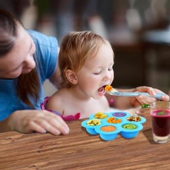 Moldes de silicona para picaduras de huevos, congelador de alimentos para bebé, contenedor de almacenamiento de alimentos, bandejas de cubitos de hielo con tapa para accesorios de olla instantánea
