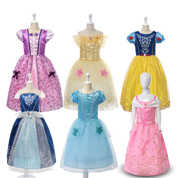 Girl Princess Dress Rapunzel Dress Up Baby Snow White Belle Cinderella Cosplay Costume for Party Birthday Halloween fancy girl princess dress cosplay beauty and the best costume kids halloween birthday party dress belle aurora cinderella dress