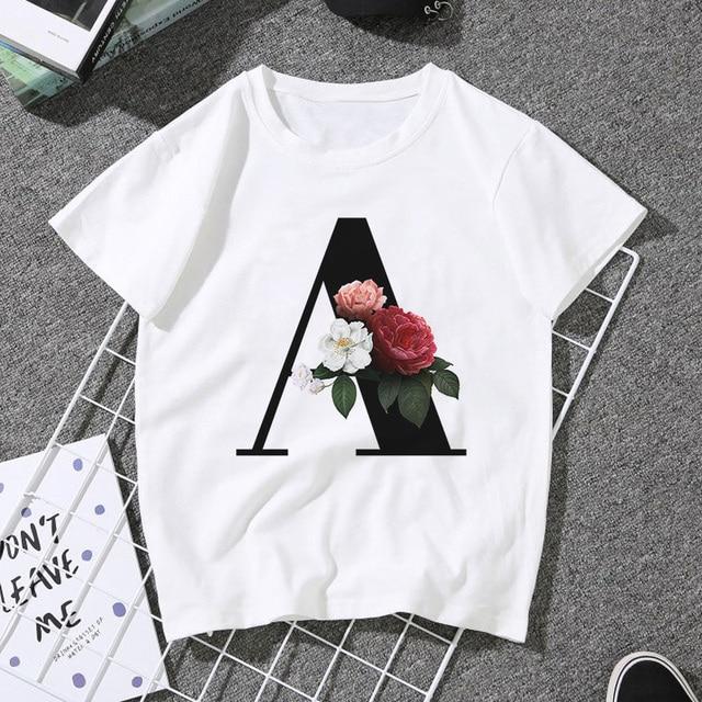 2020 New Summer Couples Lovers blouse Women Harajuku Casual White Tops 26 English Alphabet Prints Print women's shirt