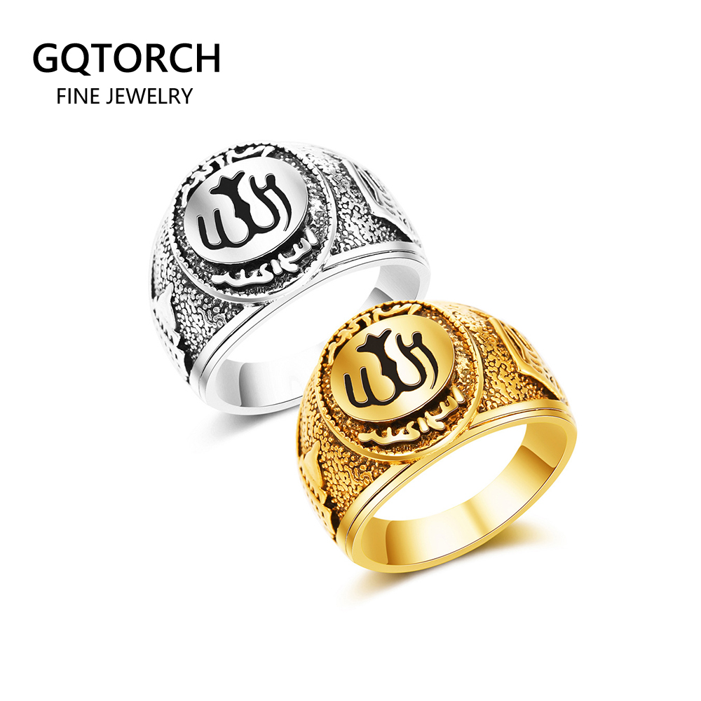 Muslim Rings For Men Stainless Steel Antique Silver Gold Color Islam Arabic Totem Allah Rings Perhiasan Muslim
