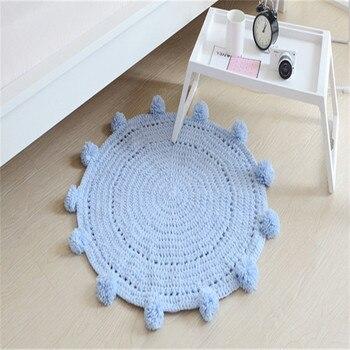 Hand woven knitted floor rug 80*80cm carpet solid white blue children play mat round carpet blanket for kids bedroom home decor