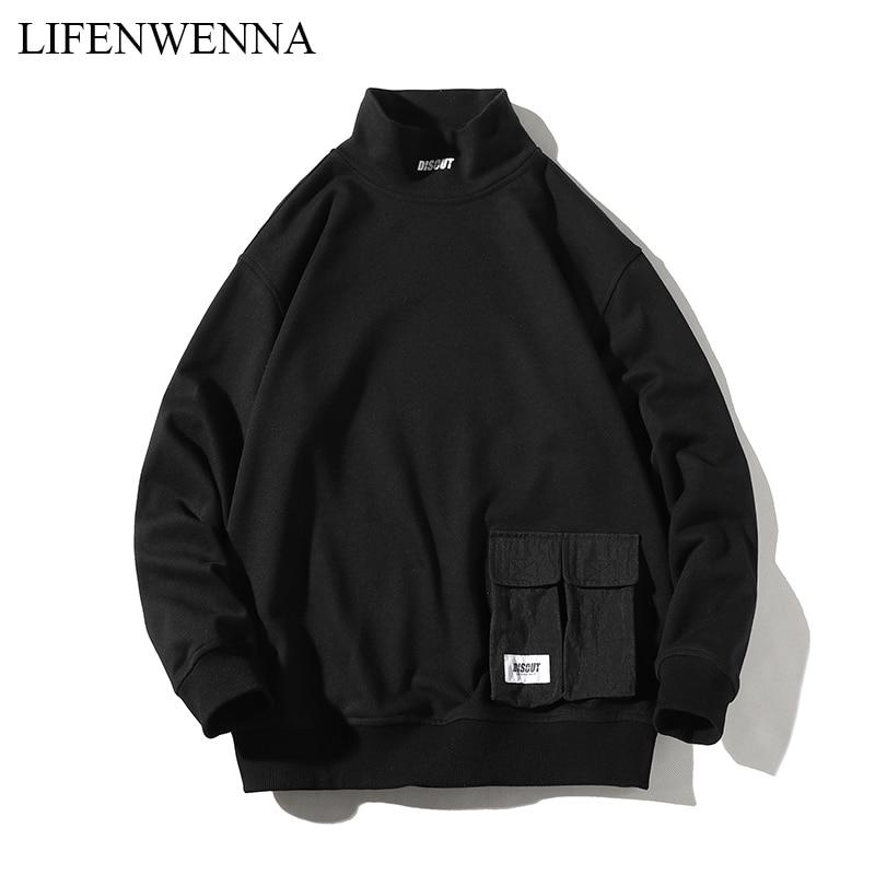 LIFENWENNA Men's Autumn Sweatshirts Casual Pocket Men Hoodies Sweatshirt Men Hip Hop Stand Collar Pullover Hoodies Plus M-5XL