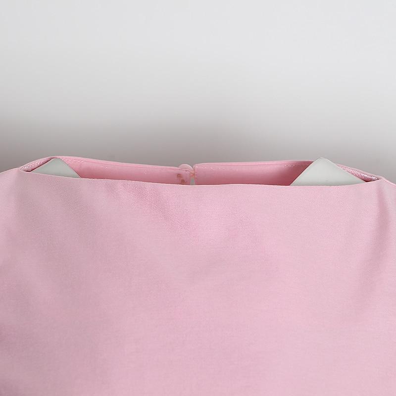 TWOTWINSTYLE Casual Rosa conjunto de dos piezas mujer O cuello camisa de manga farol cintura alta pantalones acanalados túnica traje femenino 2020 ropa nueva - 4