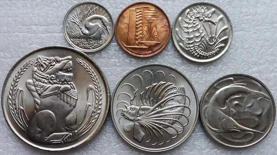 Singapura 1978-1988 moeda 1 centavo-1 yuan conjunto completo 6 peças moedas genuínas moeda original real