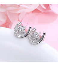 MANBU New Collection  925 sterling silver Stud Earrings U shape with star Pave Setting CZ simple trendy earrings for women gift цена