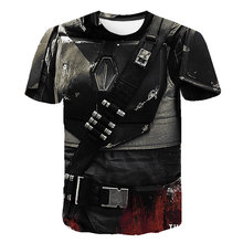 Men's Mandalorian T-shirt 3D printed Star Wars camiseta masculina casual short sleeve street military clothing crew neck T-shirt(China)