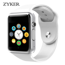 ZYKER A1 WristWatch Bluetooth Smart Watch Sport Pedometer With SIM Card call Camera Smartwatch For Android IOS phone Smartwatch f1 sport smart watch with gps camera stopwatch bluetooth smartwatch sim card wristwatch for android ios phone for boys gift