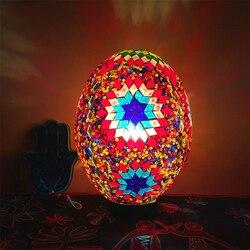 W stylu Vintage szczęście jaj turecki mozaiki LED dla dzieci stolik nocny lampa światła ręcznie szklanym kloszem Cafe Hotel urządzone