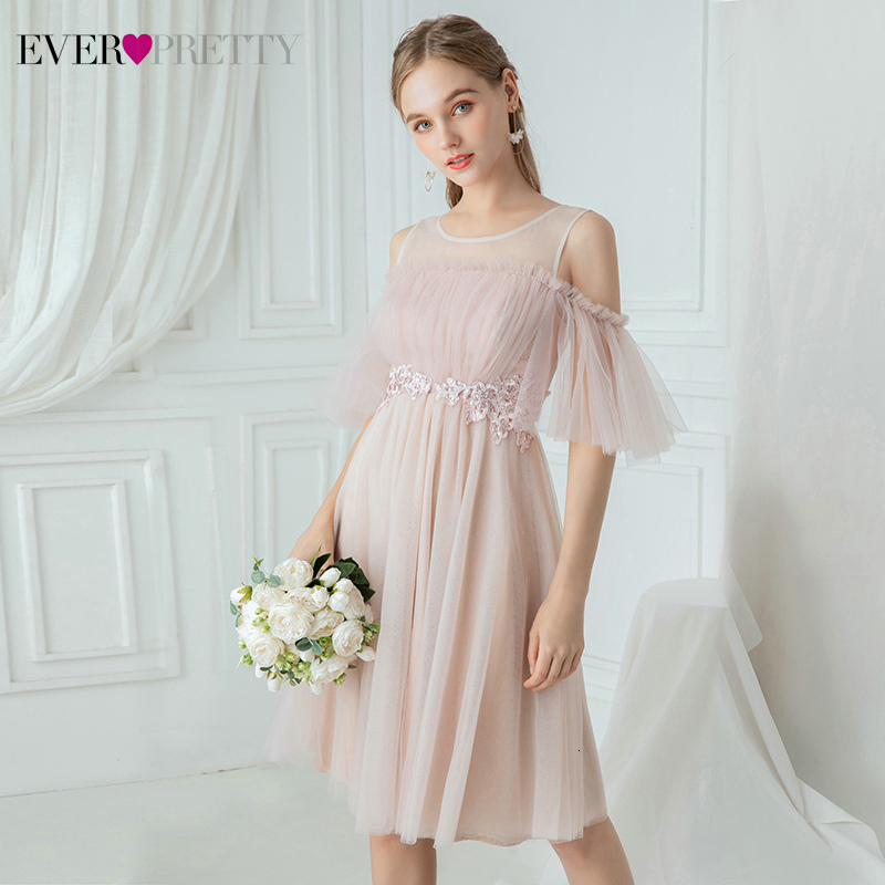 Short Pink Bridesmaid Dresses Ever Pretty EP00886PK A-Line O-Neck Ruffles Cold Sleeve Appliques Wedding Party Dresses Vestidos