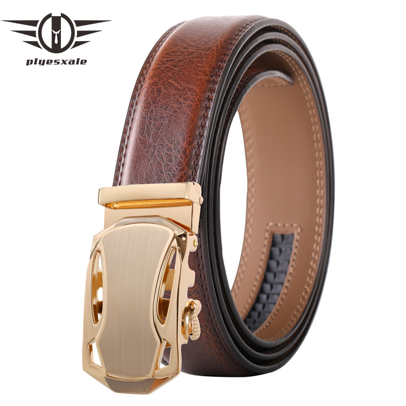 Plyesxale Famous Brand Belt Men Top Quality Genuine Luxury Leather Belts for Men Strap Male Automatic Buckle Black White B680