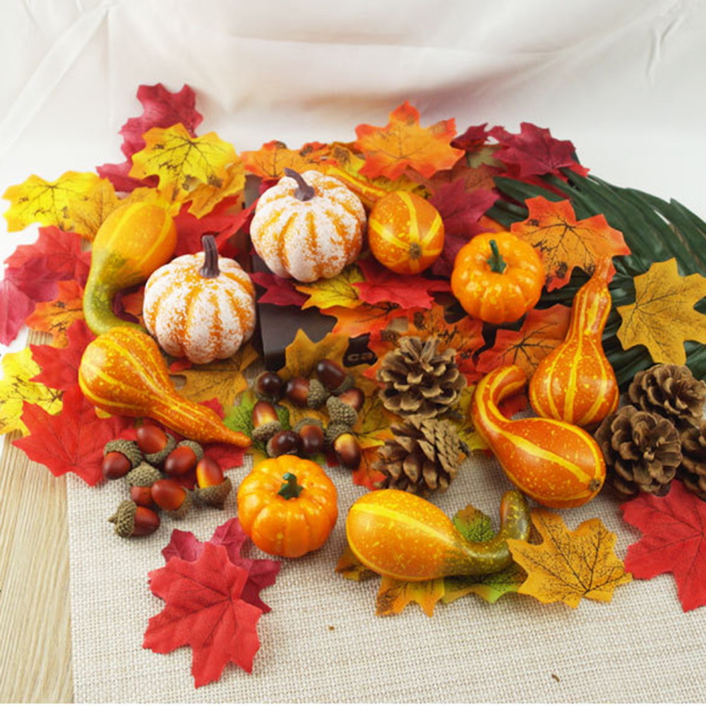 50Pcs Fall Harvest Decor Artificial Mini-Pumpkin Gourd Acorn Berries Maple Leaf