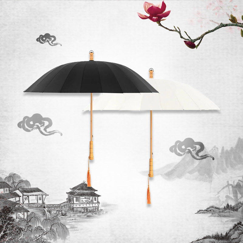 Retro MORI Series Straight Pole Solid Wood Umbrellas Customizable 24 Bone Long Handle Solid Color Craft Umbrella Reinforced Wind