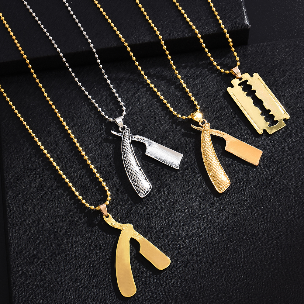 Women Pole Rotating Light Barber Shop Barbers Necklace Chain Jewelry Pendant