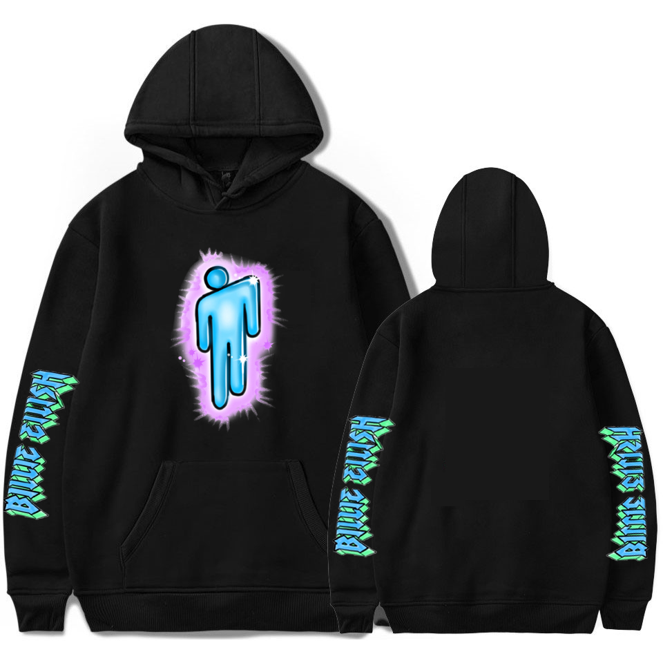 Billie Eilish Logo Hoodie Streetwear Men Black Hoodie Couple Billie Eilish Sweatshirt Simple Keep Warm Women/men Hoodie Clothes