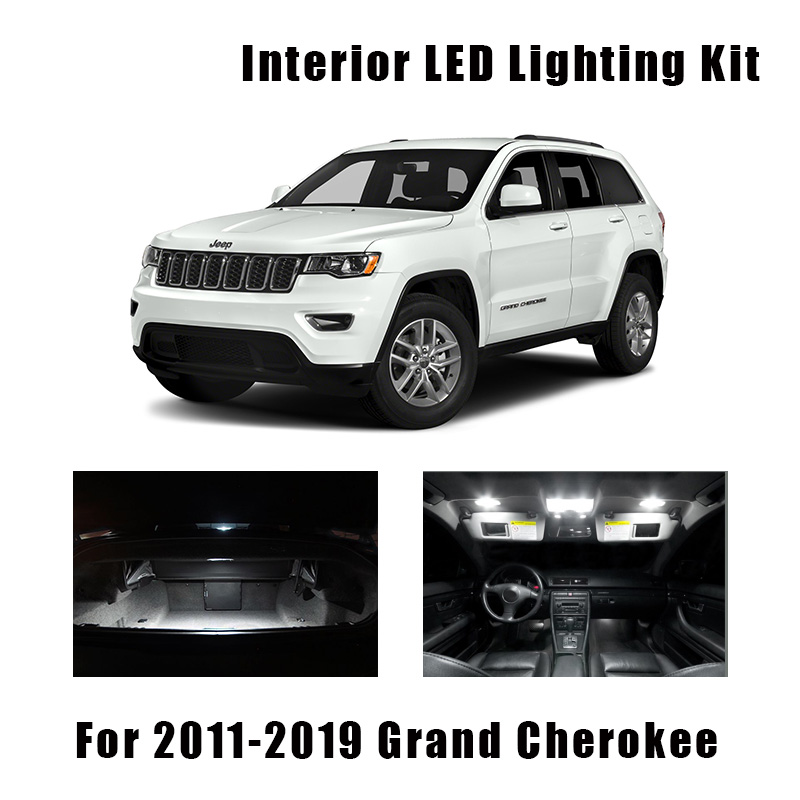 13 Bulbs White Canbus LED Car Reading Light Interior Kit Fit For 2011-2017 2018 <font><b>2019</b></font> Jeep <font><b>Grand</b></font> <font><b>Cherokee</b></font> Map Trunk License Lamp image