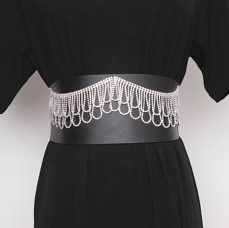 Women's Runway Fashion Diamonds Beaded Elastic Pu Cummerbunds Female Dress Corsets Waistband Belts Decoration Wide Belt R2432