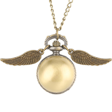 Buy Beautifully Ball Shaped Potter Quartz Pocket Watch Women Creative Necklace Chain Wings Pendant Watches Men Gift montre de poche directly from merchant!