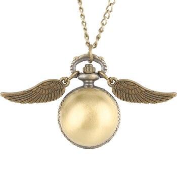 Beautifully Ball Shaped Potter Quartz Pocket Watch Women Creative Necklace Chain Wings Pendant Watches Men Gift montre de poche flash shaped pendant chain necklace