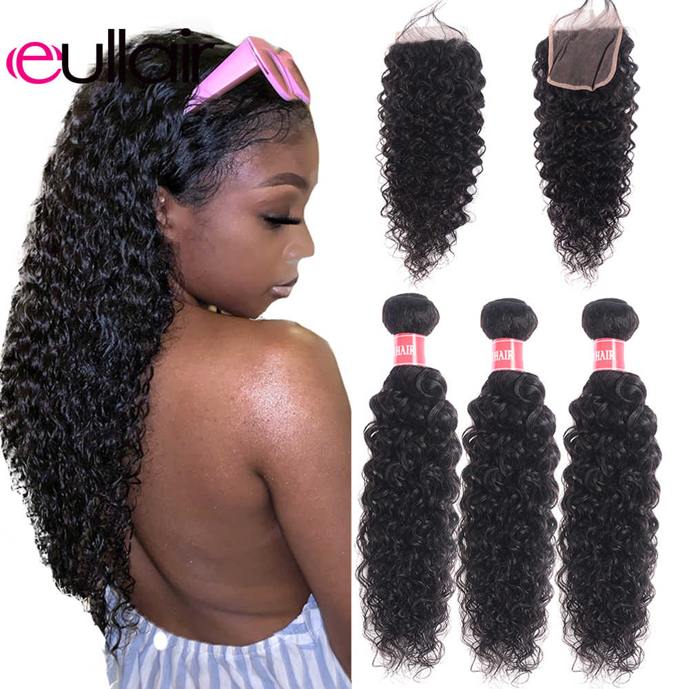 eullair Brazilian Water Wave Hair Bundles With Closure 3/4 Bundles Remy Human Hair Weave Bundles With Closure 4*4 Lace