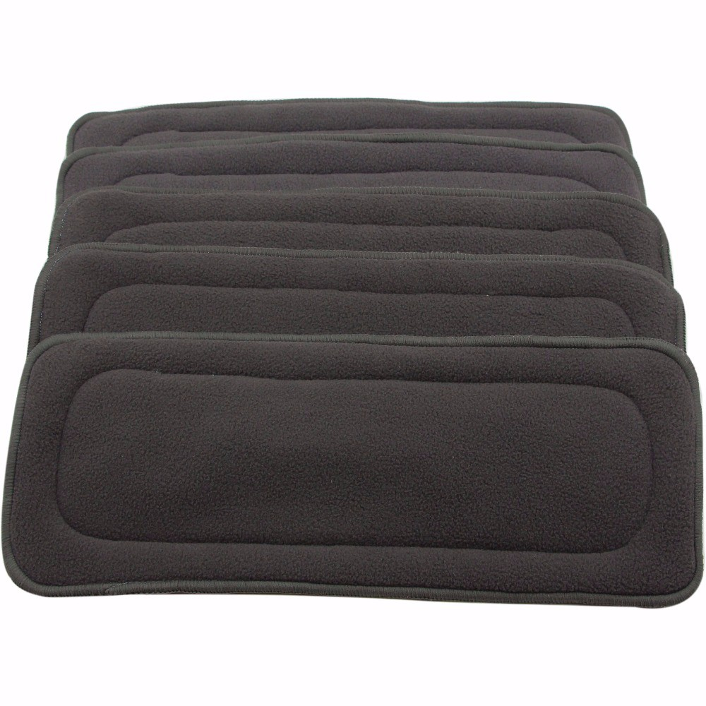 1pc 4 Layers Bamboo Charcoal Inserts For Cloth Diaper Reusable Washable Boosters Liners For Real Pocket Cloth Nappy