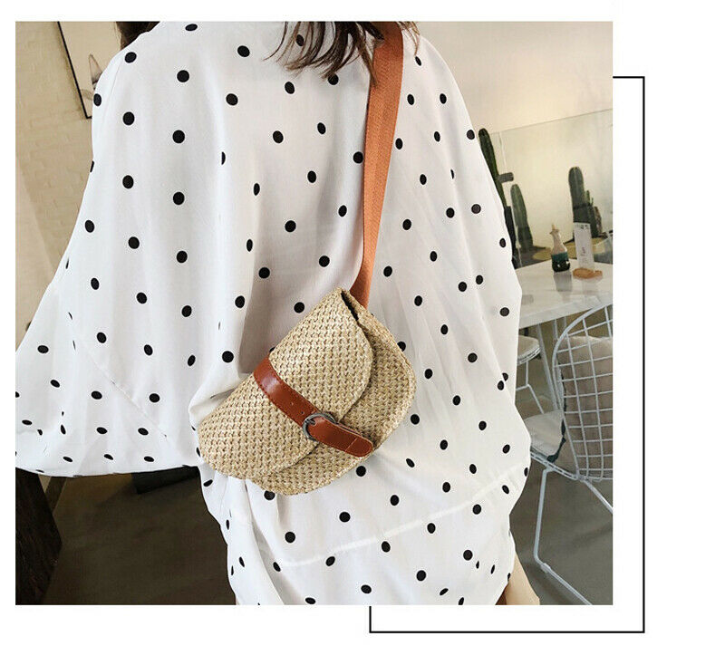 Fashionable Woman Bohemian Beach Shoulder Bag Vintage Straw Bag Vintage Wicker Basket Khaki