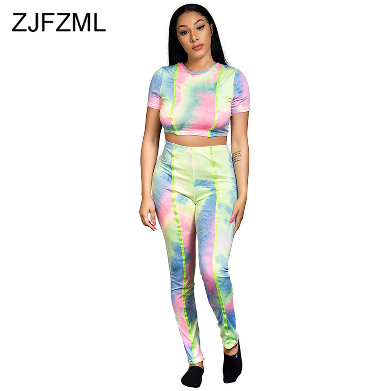 Rainbow Tie Dye Sexy Two Piece Summer Outfits For Women Round Neck Short Sleeve Crop Top + Skinny Pencil Pants Causal Tracksuit