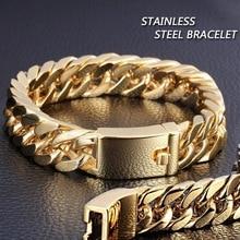 Personalized Simple Gold Stainless Steel Cuban Bracelet Retro Men's Hook Bracelet Jewellery Male Hip Hop Jewelry Gifts