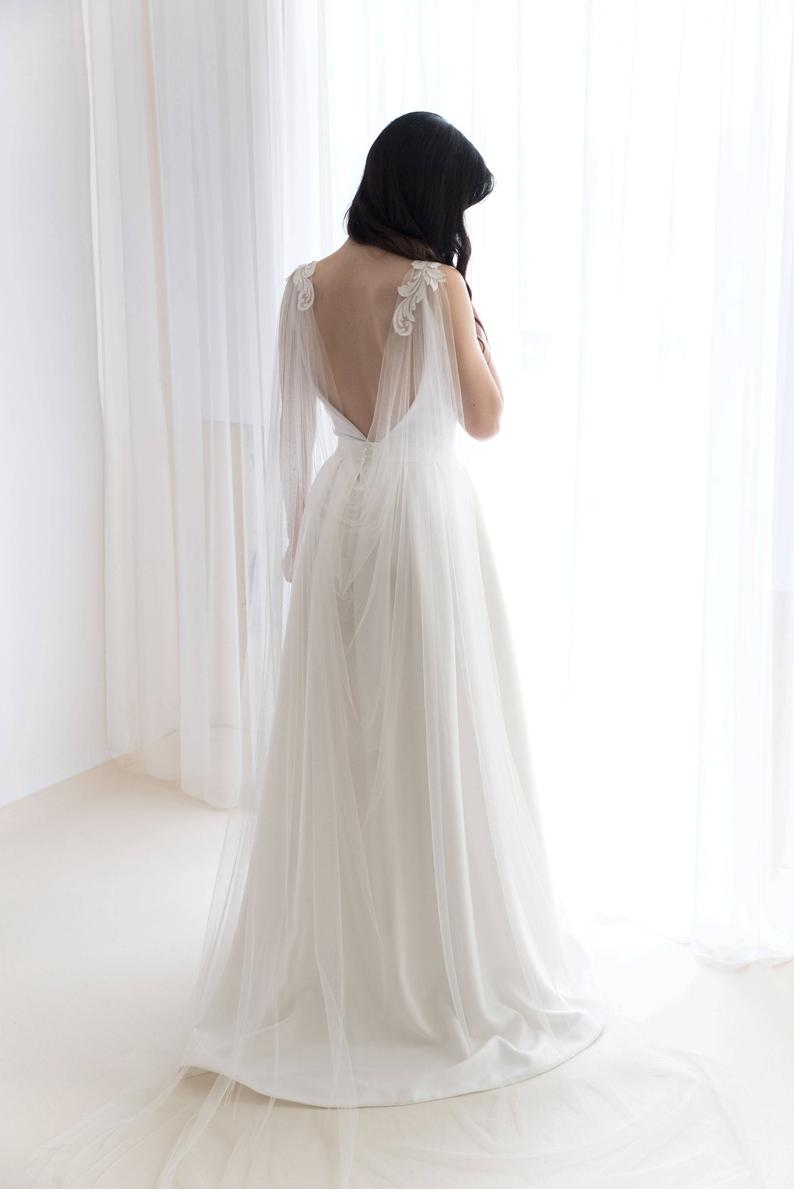 Cape Veil With Lace - Bridal Cape Veil - Wedding Cape Veil - Modern Veil - Shoulder Cape