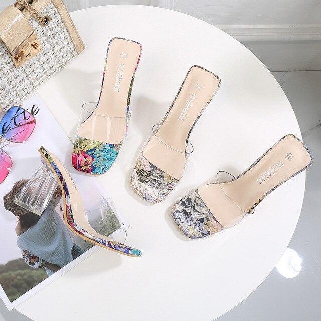 Mclubgirl femmes cristal talons carrés sandales Style populaire Transparent cristal grande taille talons porter Cool 2020 pantoufle WZ