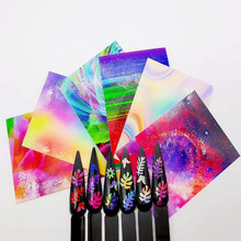 6colors/set Fire Flame Laser Neon Colorful Leaf Designs Manicure Holographic 3D DIY  Nail Art Sticker Decal Accessories