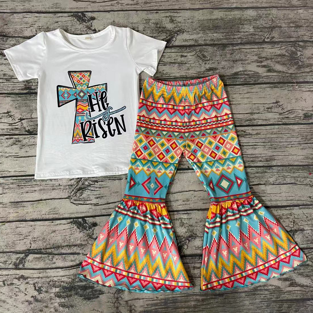 Venda quente meninas roupas boutique crianças designer roupas meninas primavera verão camisa de manga curta bell bottom calças roupas da moda