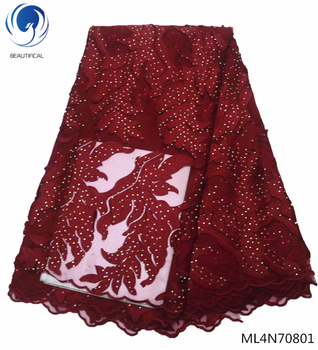 Beautifical french lace fabrics with rhinestones 2019 high quality red net lace fabrics for women dress 5yards/lot ML4N708