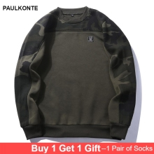 PAULKONTE 2019 New Simple Large Size Mens Sweatshirt Casual Round Neck Camouflage Fleece Pullover Comfortable Clothing