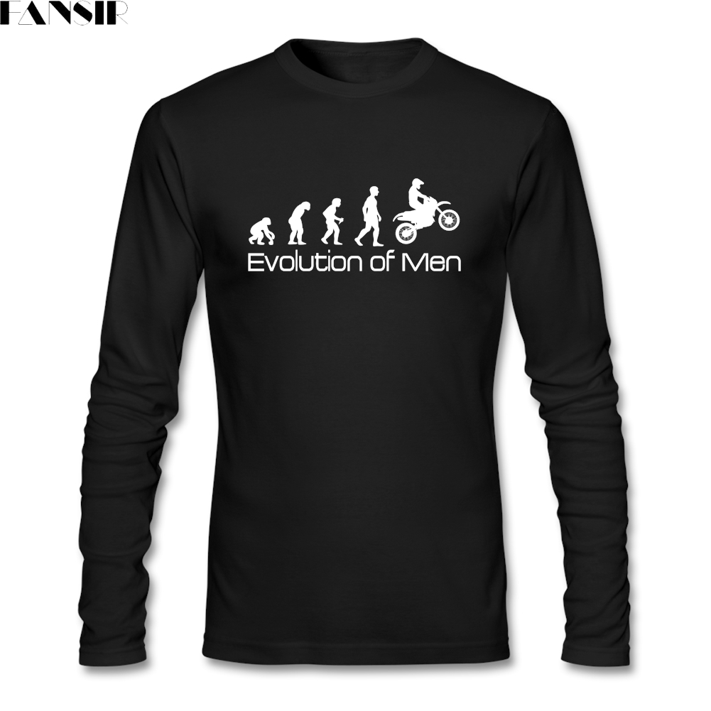 Geek Men T-shirt Motorbike Motorcycle Evolution Natural Cotton Crew Neck Long Sleeved Summer Top For Male