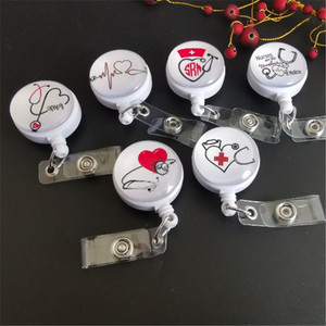 New Design 1 Piece Quality Retractable Nurse Badge Reel Clip Cute Love Heart Stethoscope Doctor Student IC ID Card Badge Holder