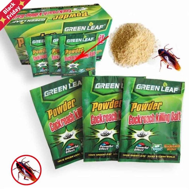 10 Packs Green Leaf Powder Cockroach Killer Baits Repeller Killing Trap Pest Control