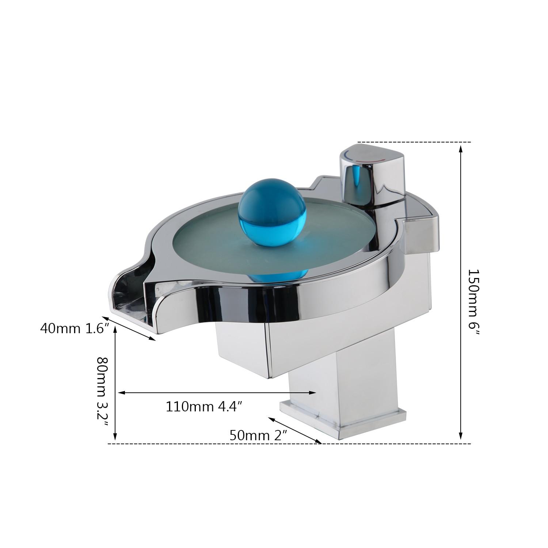 KEMAIDI LED changements de couleur cascade bassin robinet salle de bain baignoire évier mitigeur mitigeur cuisine robinet d'eau Chrome - 3