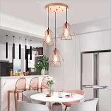 Nordic Rose Gold Iron Cage Led Pendant Lights Loft Hanging Lamp For Kitchen Restaurant Living Room Lustres lampe suspension