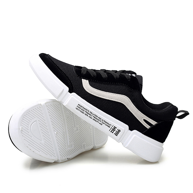 Men Net Cloth Shoes 2019 New Fashion Solid Color Men Vulcanized Shoes Lace-up Black Casual Shoes Men Sneakers