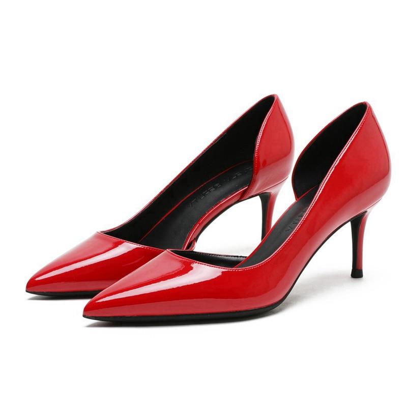 2020 femmes mode pompes mince talons hauts en cuir verni rouge pompes femmes printemps été bal fête chaussures femme A0011