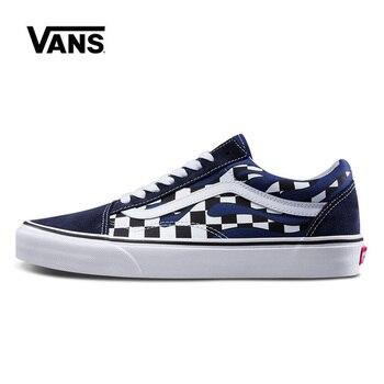 цена на Vans Old Skool Blue Checkerboard Women Shoes Original Sneakers Unisex Vans Men's Shoes Skateboarding VN0A38G1RX6