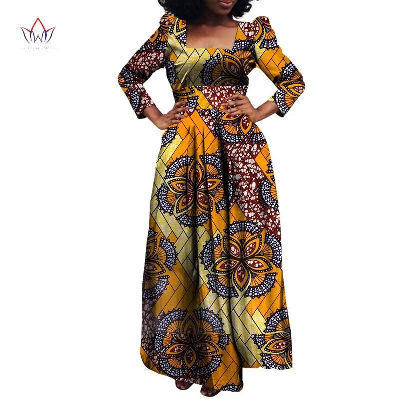 African Bazin Riche Dashiki Fabric Dresses Africa Wax Print Fashion Style Plus Size Clothing for Women Vestidos WY813