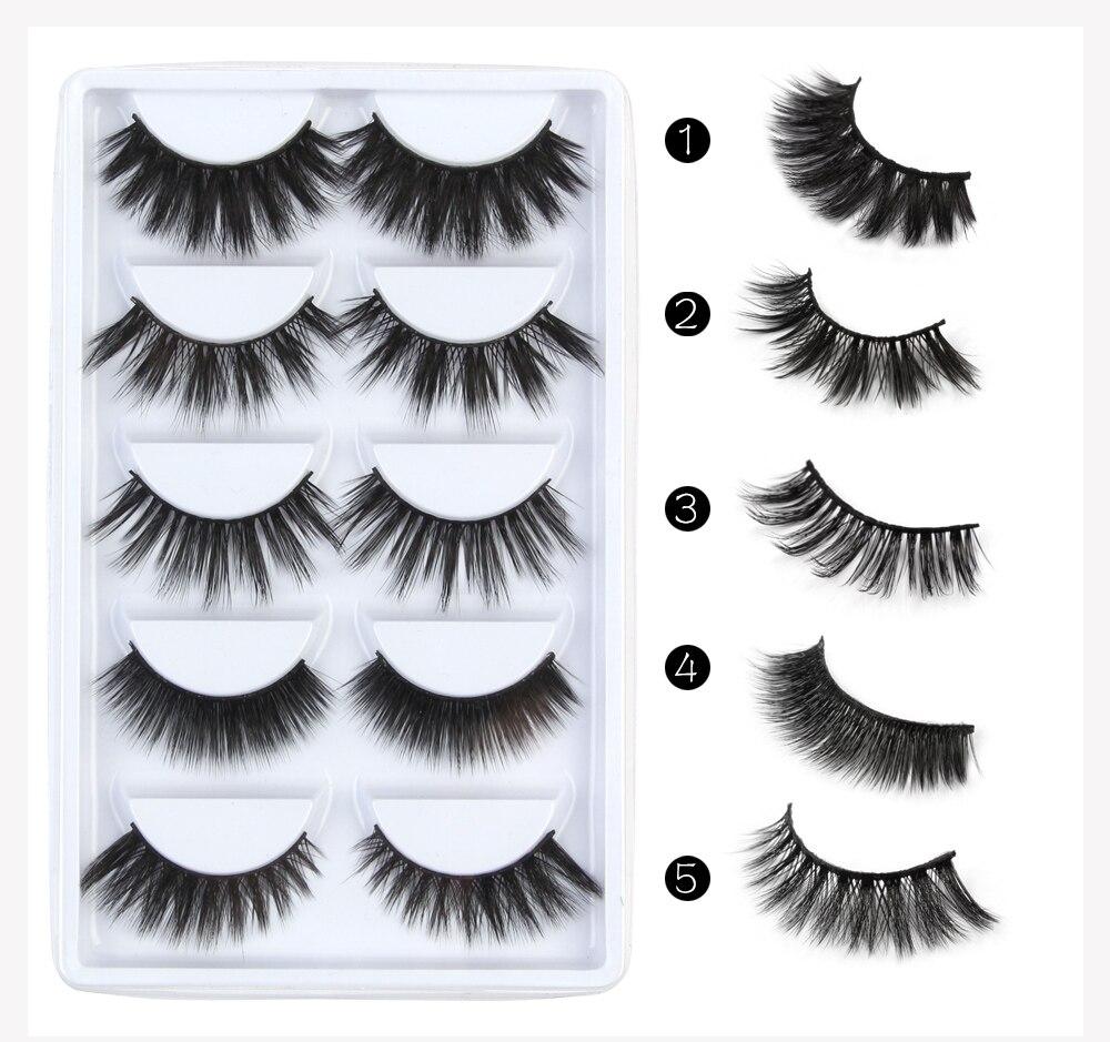 5 Pairs Multipack 3D Soft Mink Hair Lashes False Eyelashes Handmade Wispy Fluffy Long Lashes Natural Eye Makeup Tools Faux Lashe
